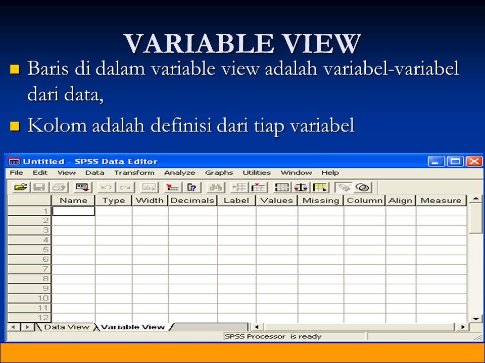 VARIABLE VIEW Baris di dalam variable view adalah variabel-variabel dari data, Kolom adalah definisi dari tiap variabel.