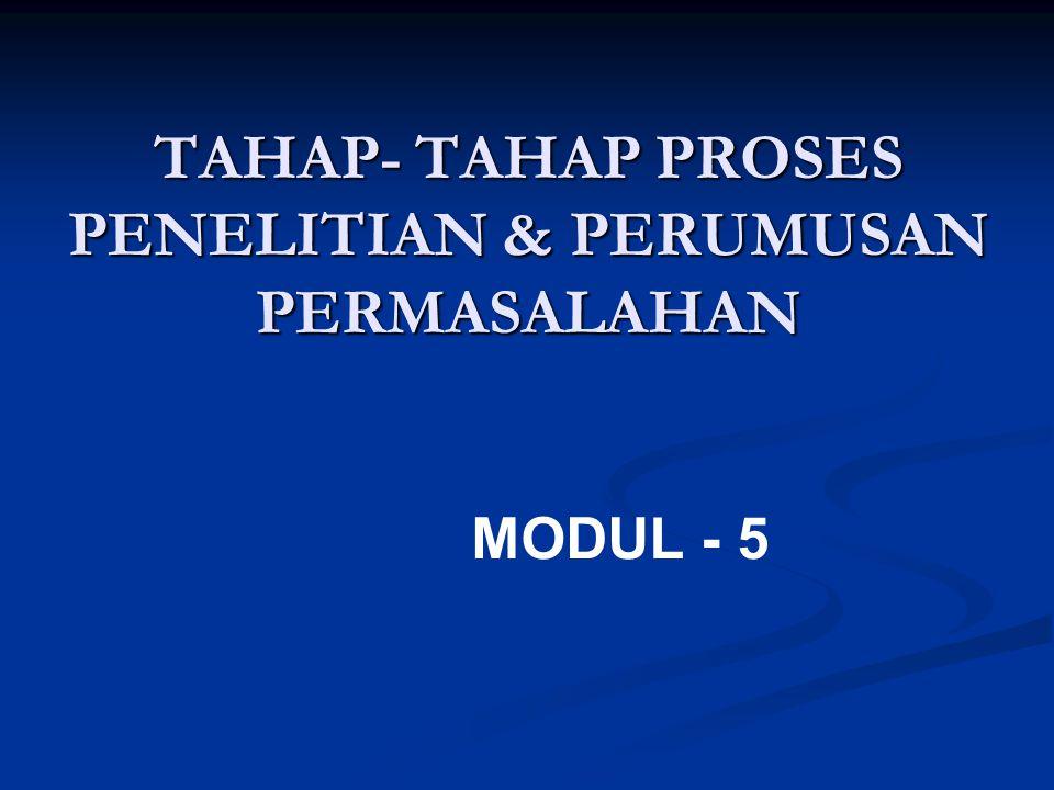 TAHAP- TAHAP PROSES PENELITIAN & PERUMUSAN PERMASALAHAN
