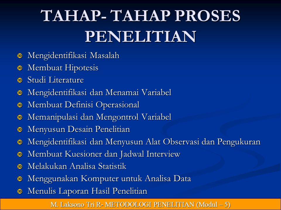 TAHAP- TAHAP PROSES PENELITIAN