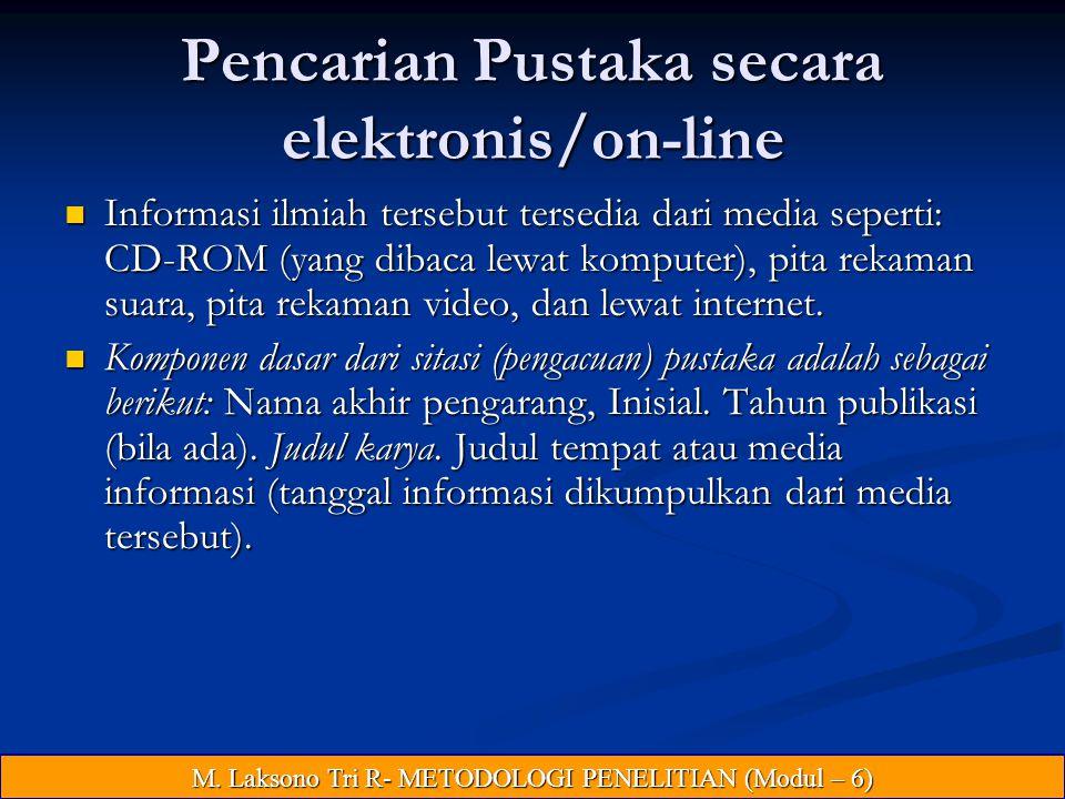 Pencarian Pustaka secara elektronis/on-line