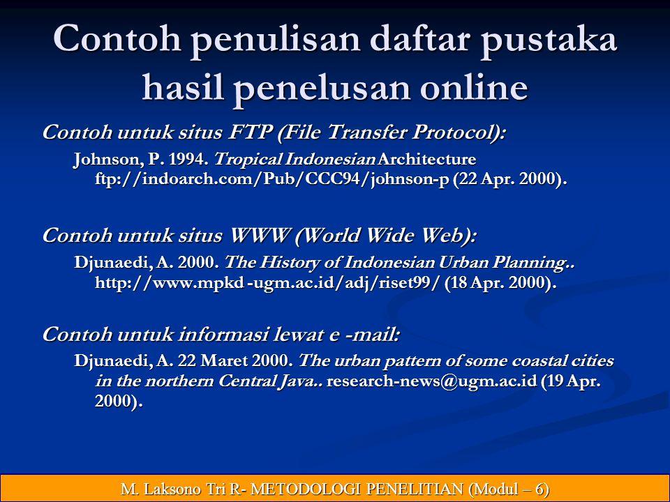 Contoh penulisan daftar pustaka hasil penelusan online
