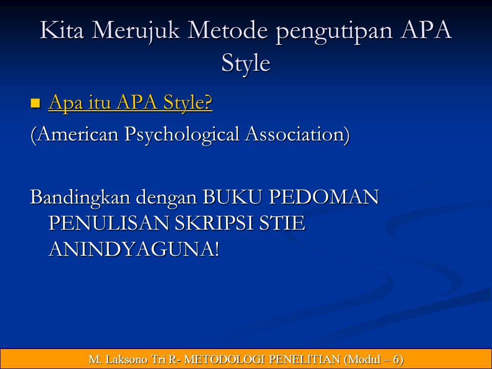 Kita Merujuk Metode pengutipan APA Style