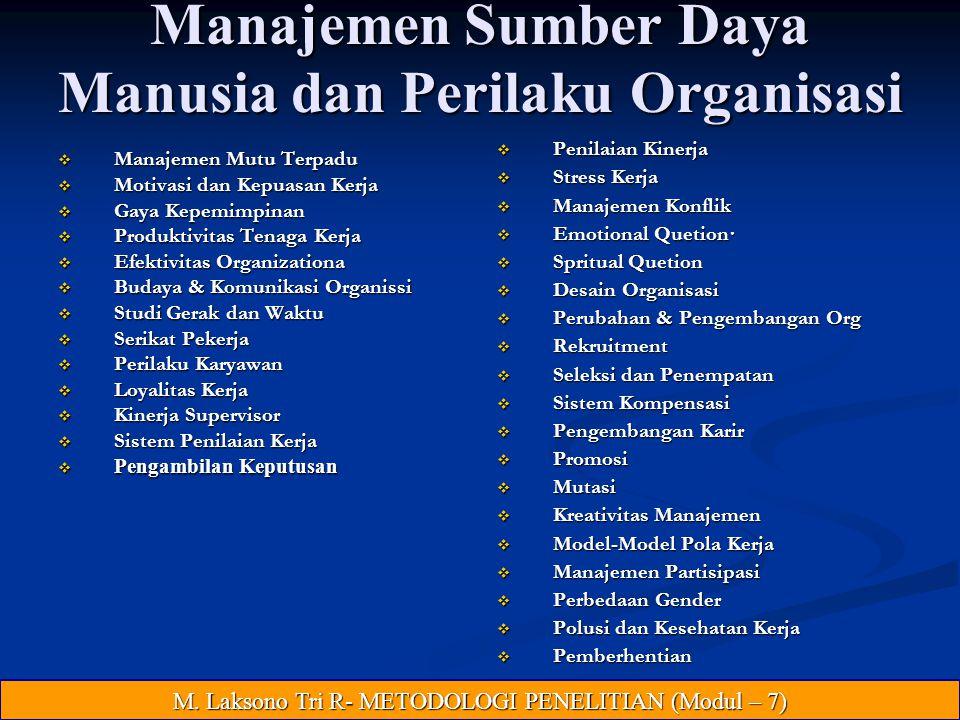 Manajemen Sumber Daya Manusia dan Perilaku Organisasi