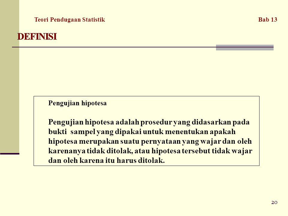 DEFINISI Teori Pendugaan Statistik Bab 13. Pengujian hipotesa.