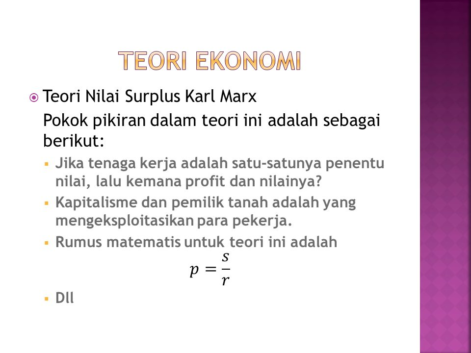 TEORI EKONOMI Teori Nilai Surplus Karl Marx