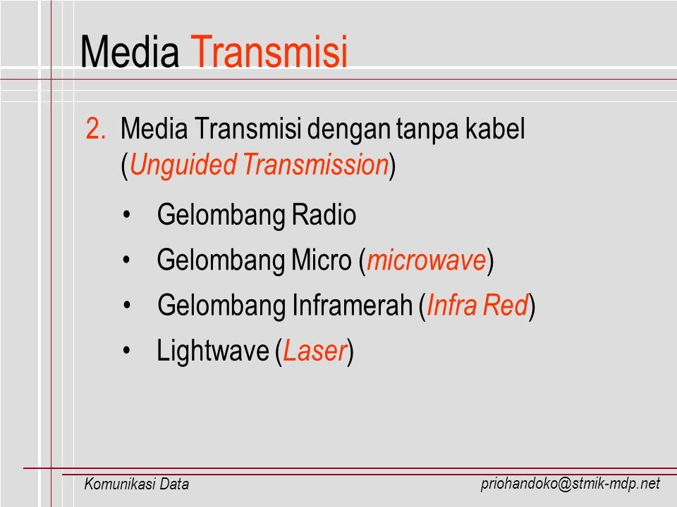 Media Transmisi 2. Media Transmisi dengan tanpa kabel (Unguided Transmission) Gelombang Radio. Gelombang Micro (microwave)