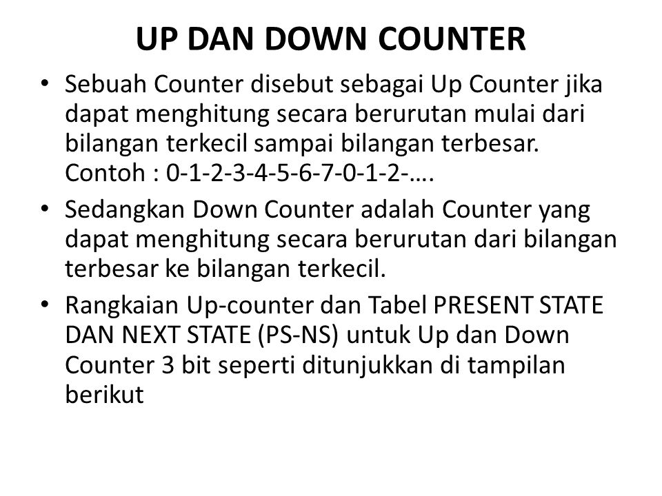 UP DAN DOWN COUNTER