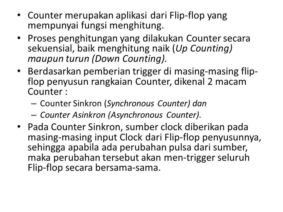 Counter merupakan aplikasi dari Flip-flop yang mempunyai fungsi menghitung.