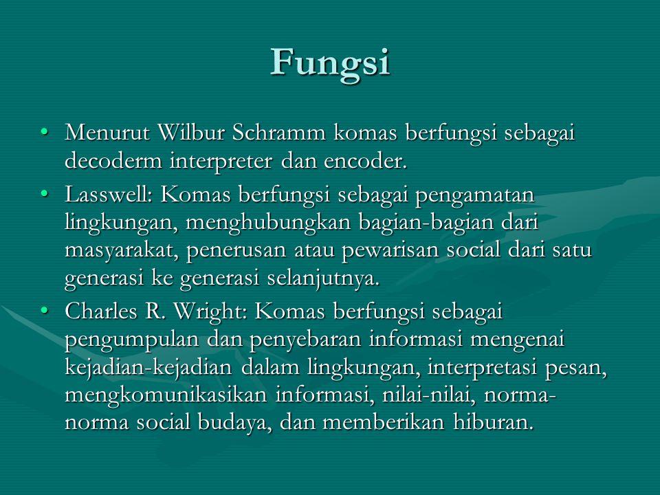 Fungsi Menurut Wilbur Schramm komas berfungsi sebagai decoderm interpreter dan encoder.