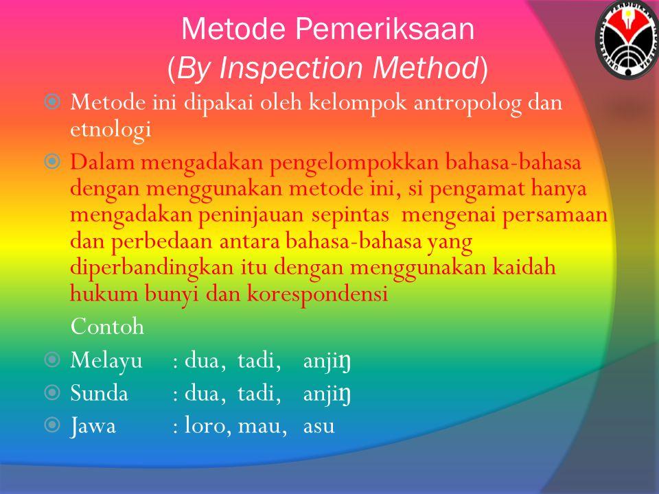 Metode Pemeriksaan (By Inspection Method)