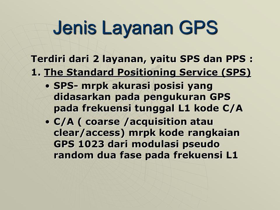 Jenis Layanan GPS Terdiri dari 2 layanan, yaitu SPS dan PPS :