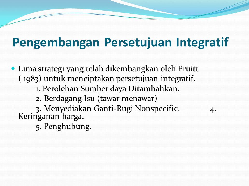 Pengembangan Persetujuan Integratif