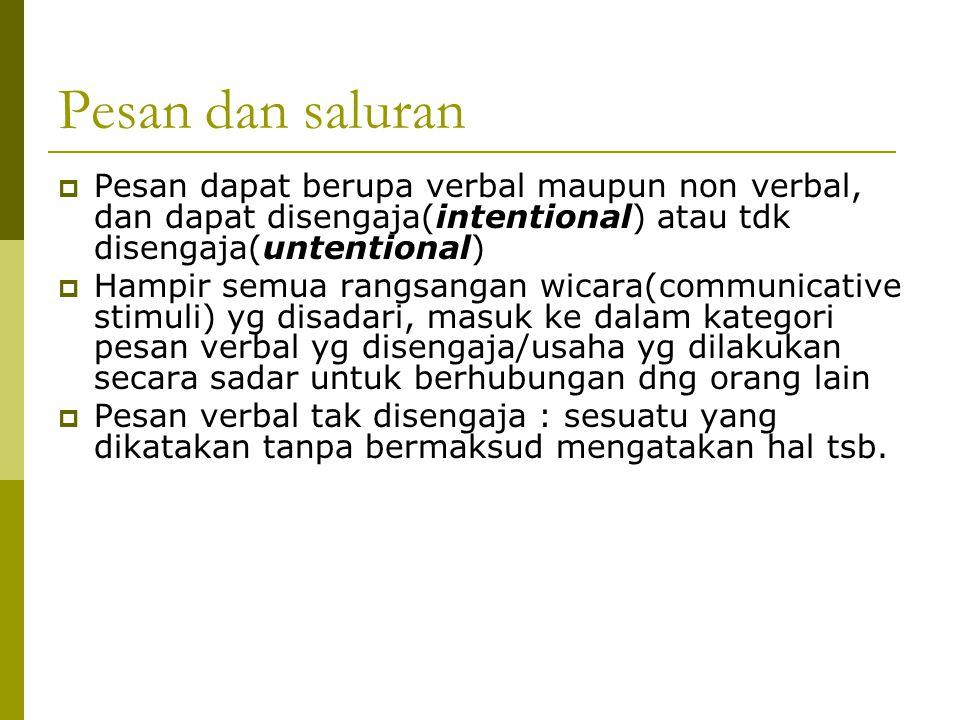Pesan dan saluran Pesan dapat berupa verbal maupun non verbal, dan dapat disengaja(intentional) atau tdk disengaja(untentional)