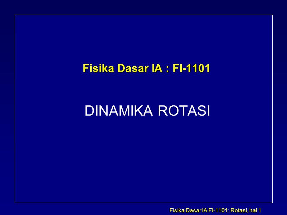 Fisika Dasar IA : FI-1101 DINAMIKA ROTASI