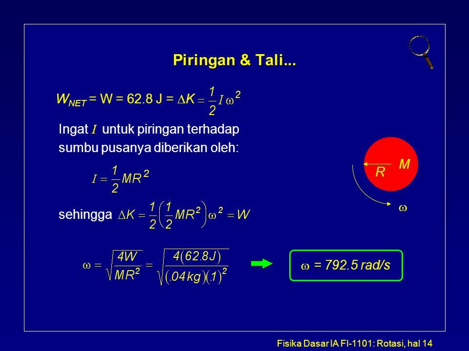 Piringan & Tali... WNET = W = 62.8 J = K