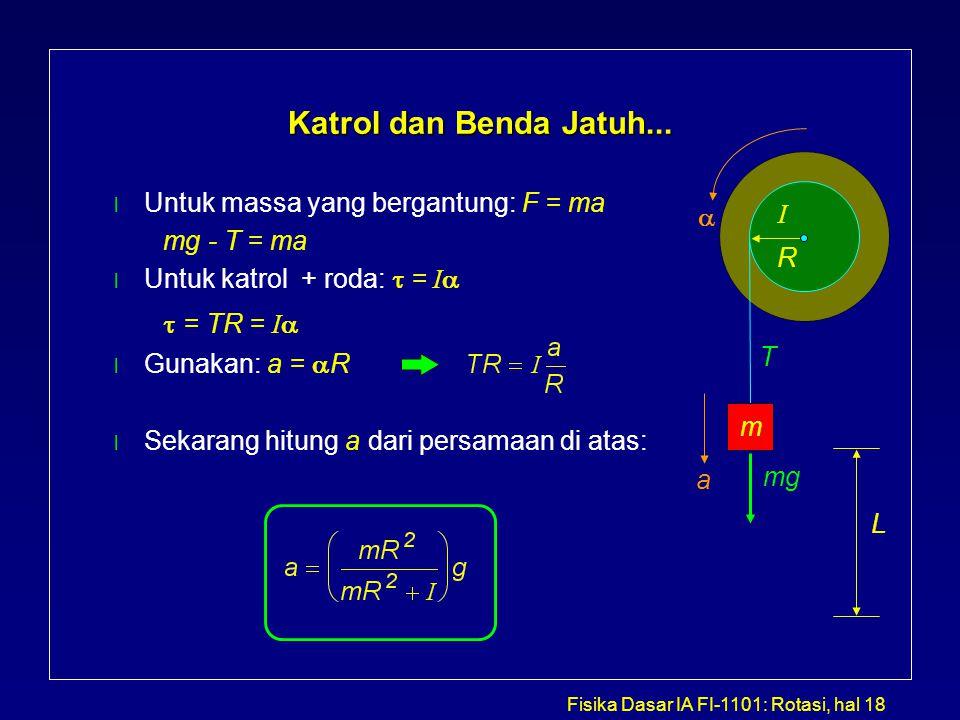 Katrol dan Benda Jatuh... Untuk massa yang bergantung: F = ma