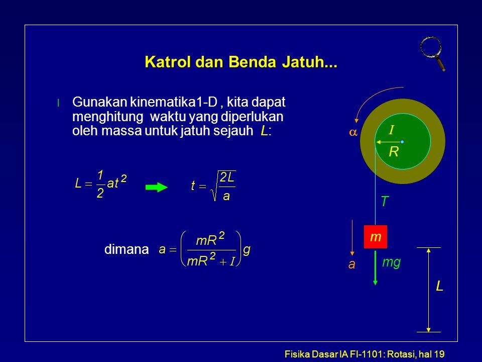Katrol dan Benda Jatuh... Gunakan kinematika1-D , kita dapat menghitung waktu yang diperlukan oleh massa untuk jatuh sejauh L: