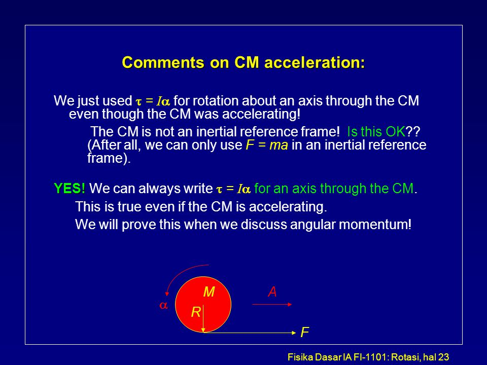 Comments on CM acceleration: