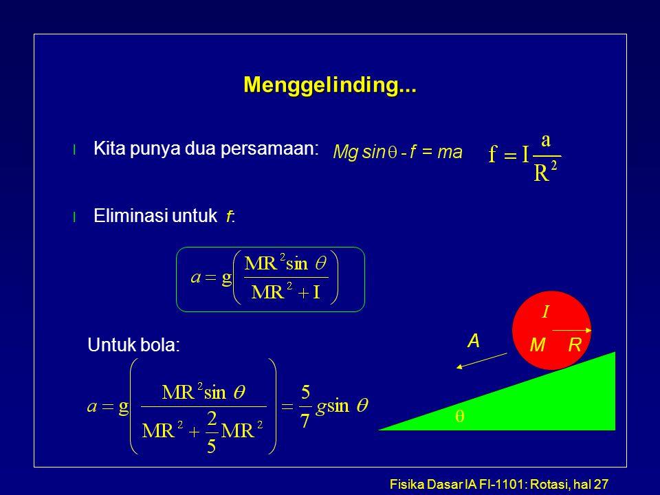 Menggelinding... Kita punya dua persamaan: Eliminasi untuk f: I A