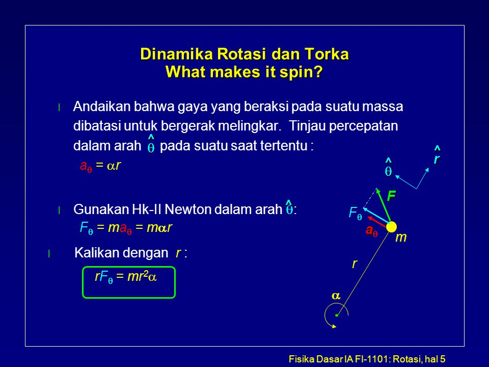Dinamika Rotasi dan Torka What makes it spin