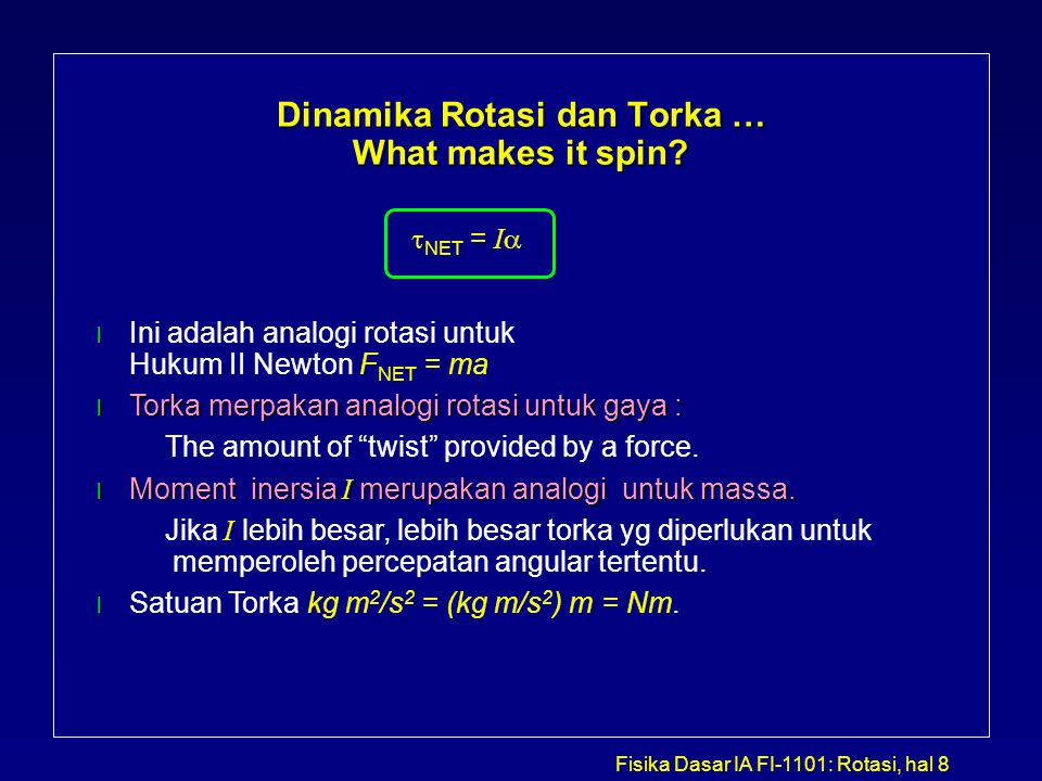 Dinamika Rotasi dan Torka … What makes it spin