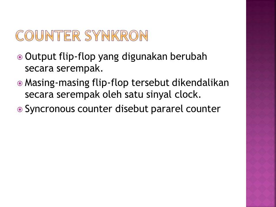 Counter SYnkron Output flip-flop yang digunakan berubah secara serempak.