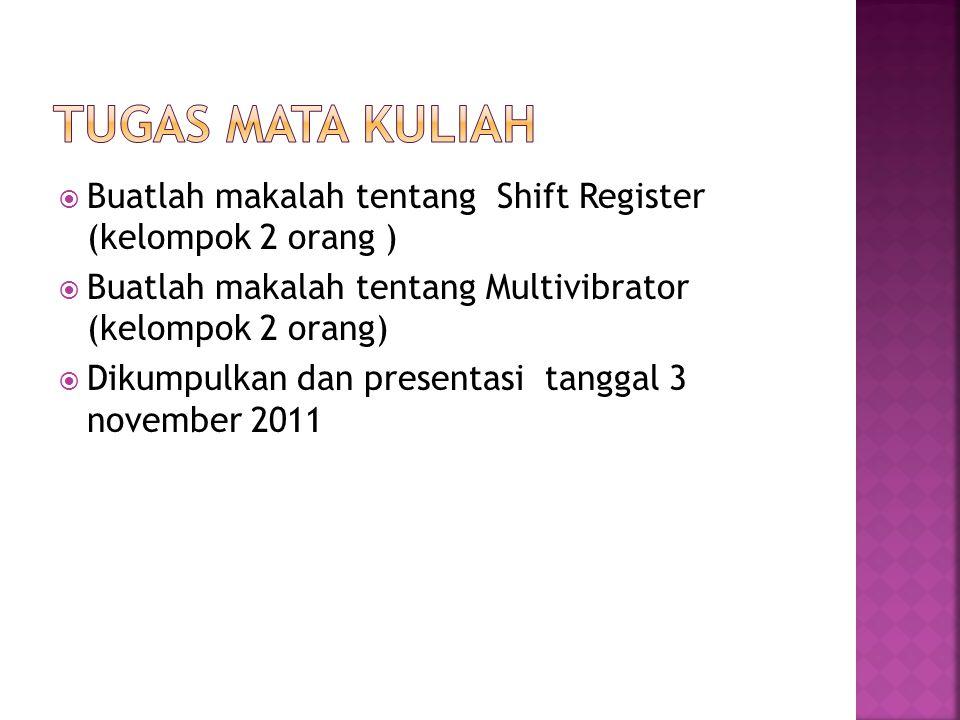 Tugas Mata Kuliah Buatlah makalah tentang Shift Register (kelompok 2 orang ) Buatlah makalah tentang Multivibrator (kelompok 2 orang)