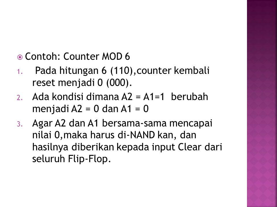 Contoh: Counter MOD 6 Pada hitungan 6 (110),counter kembali reset menjadi 0 (000). Ada kondisi dimana A2 = A1=1 berubah menjadi A2 = 0 dan A1 = 0.