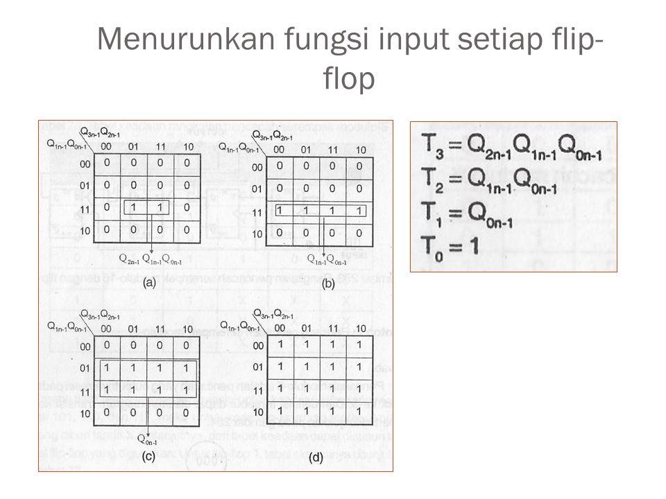 Menurunkan fungsi input setiap flip-flop