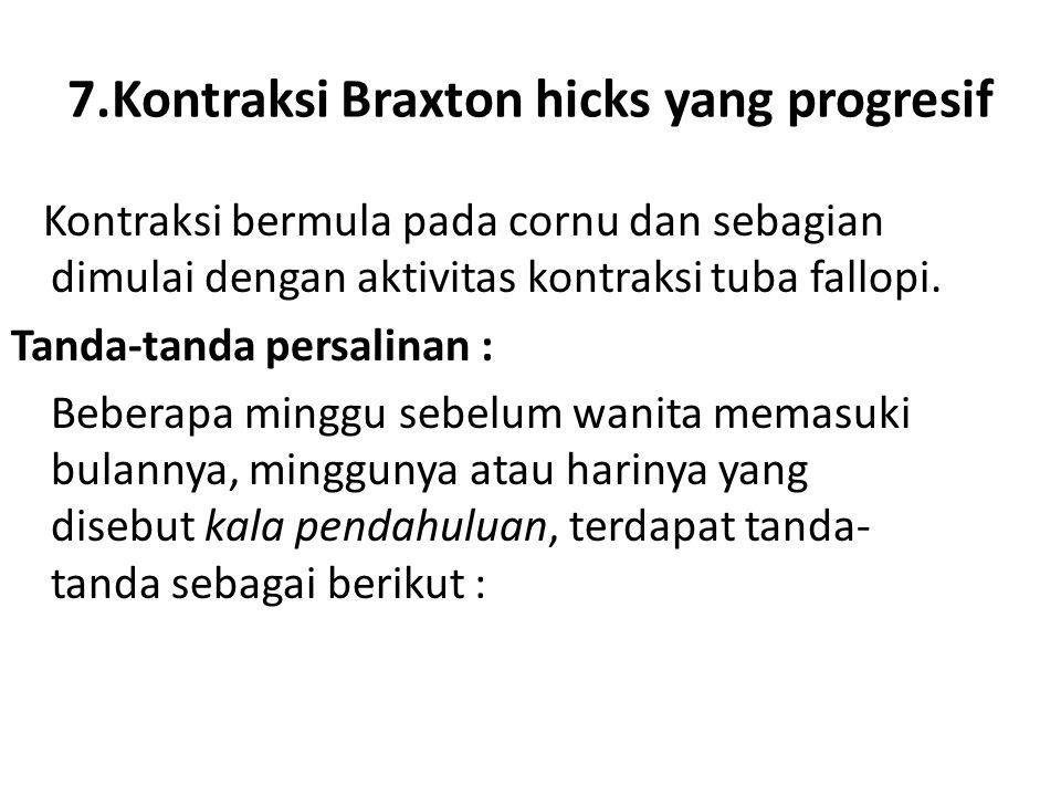 7.Kontraksi Braxton hicks yang progresif