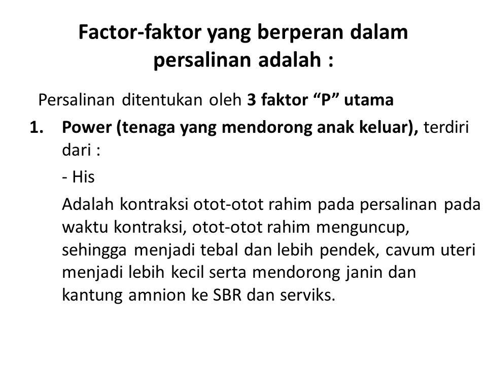 Factor-faktor yang berperan dalam persalinan adalah :