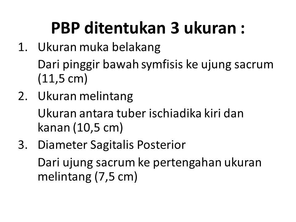 PBP ditentukan 3 ukuran :