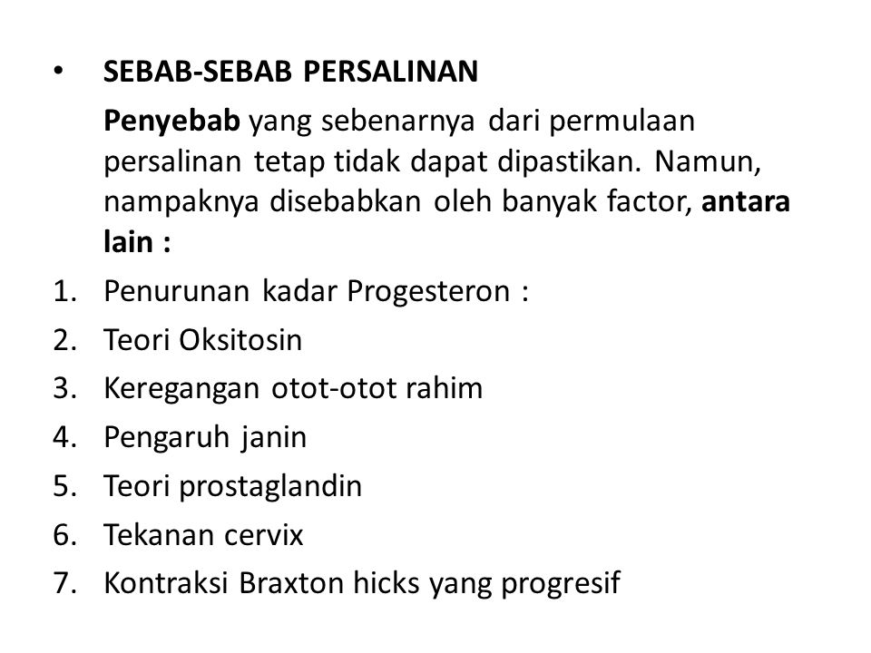 SEBAB-SEBAB PERSALINAN
