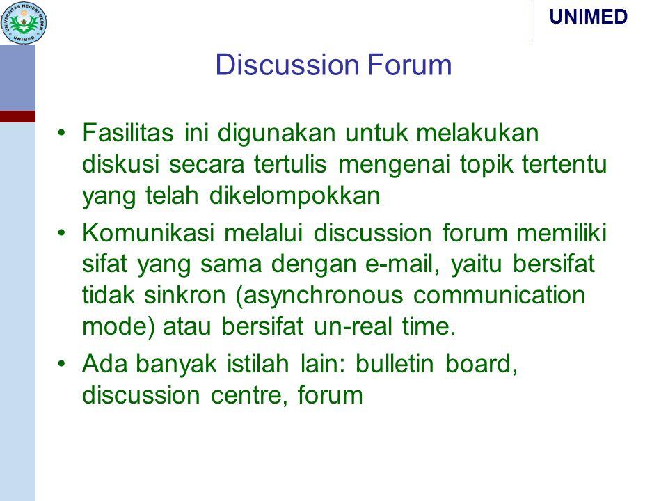 Discussion Forum Fasilitas ini digunakan untuk melakukan diskusi secara tertulis mengenai topik tertentu yang telah dikelompokkan.