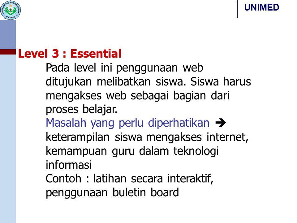 Level 3 : Essential Pada level ini penggunaan web ditujukan melibatkan siswa. Siswa harus mengakses web sebagai bagian dari proses belajar.