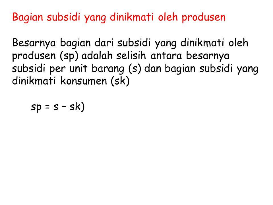 Bagian subsidi yang dinikmati oleh produsen