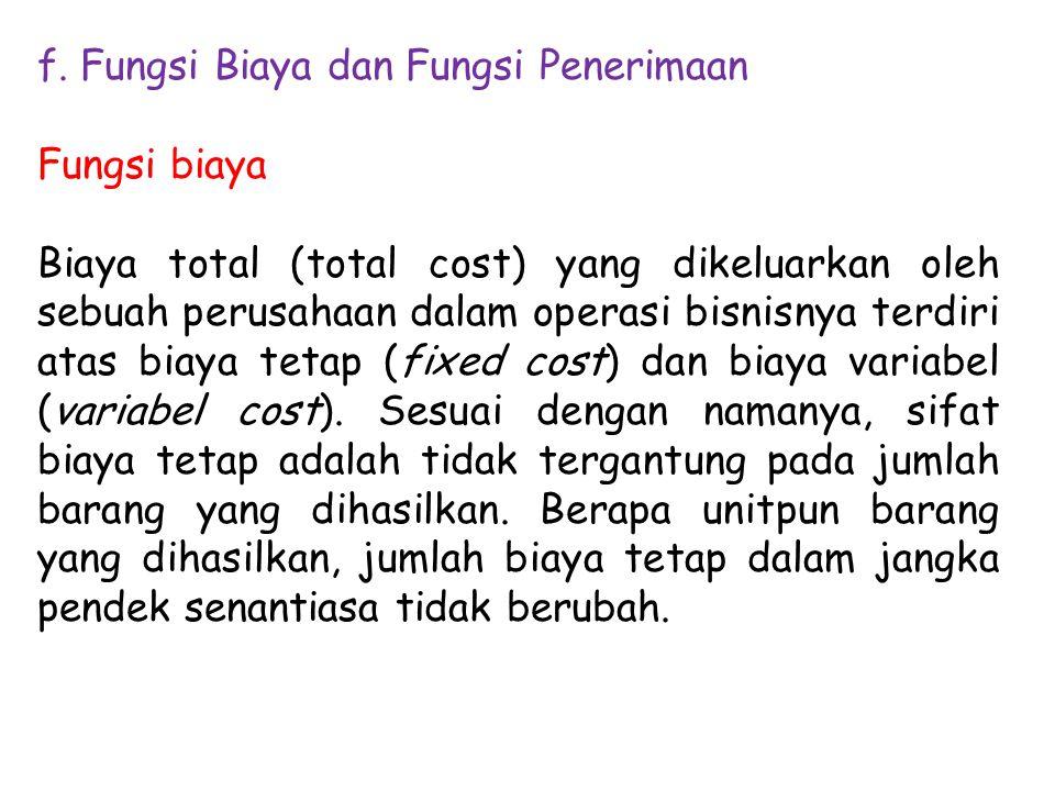 f. Fungsi Biaya dan Fungsi Penerimaan
