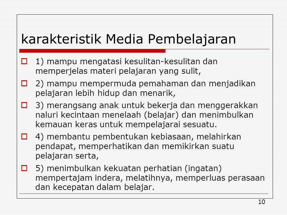 karakteristik Media Pembelajaran