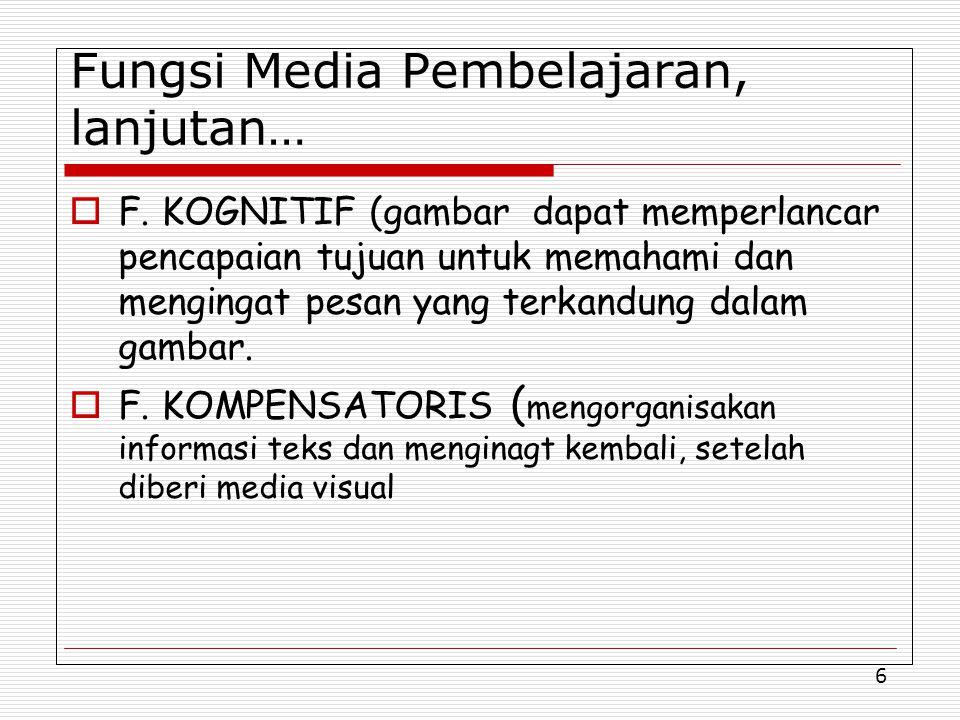 Fungsi Media Pembelajaran, lanjutan…