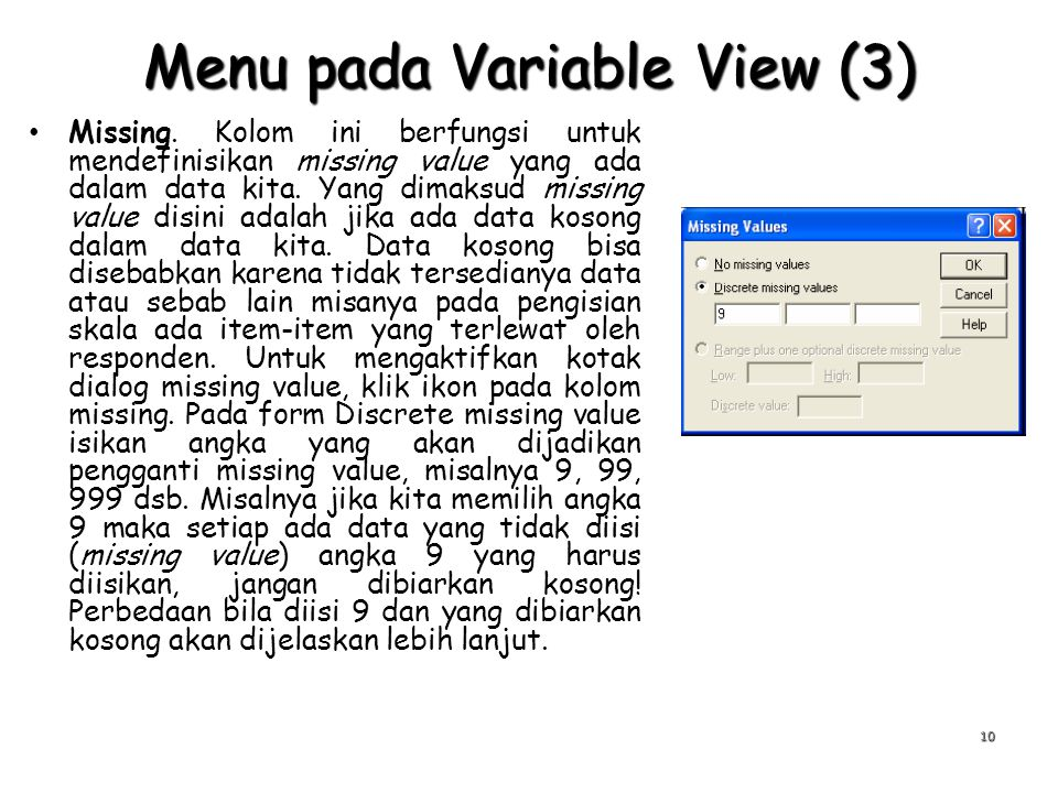 Menu pada Variable View (3)