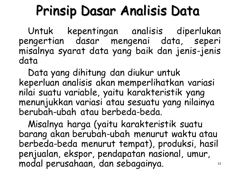 Prinsip Dasar Analisis Data