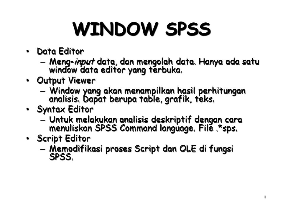 WINDOW SPSS Data Editor