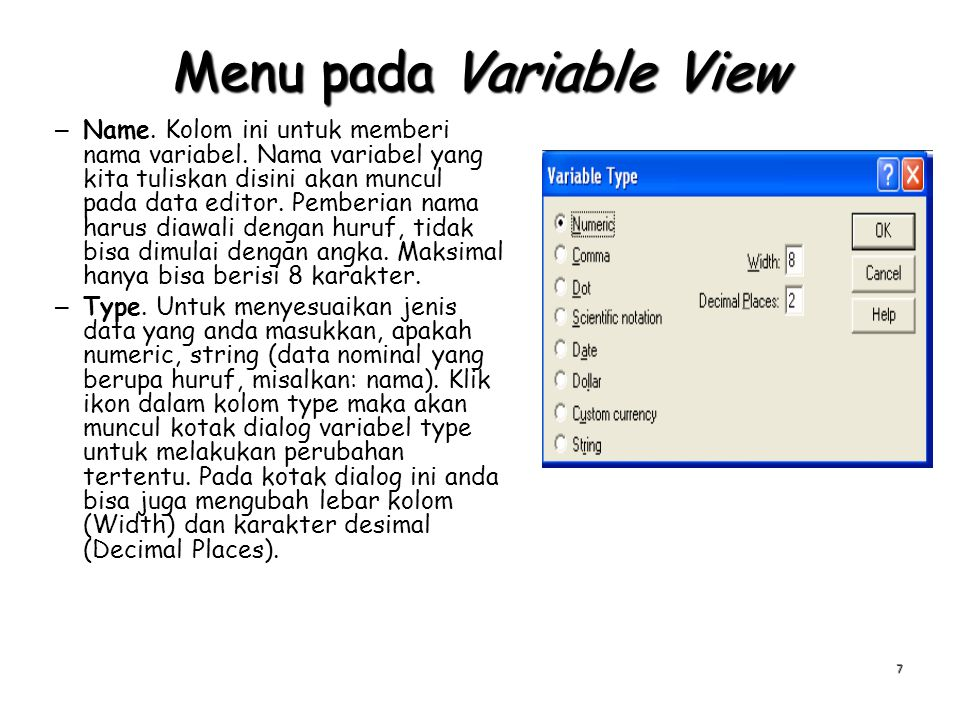 Menu pada Variable View