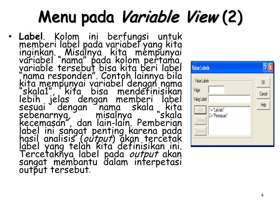 Menu pada Variable View (2)