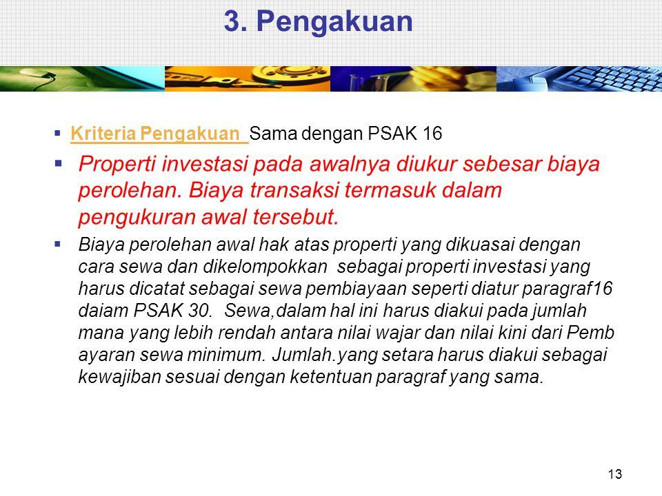 3. Pengakuan Kriteria Pengakuan Sama dengan PSAK 16.