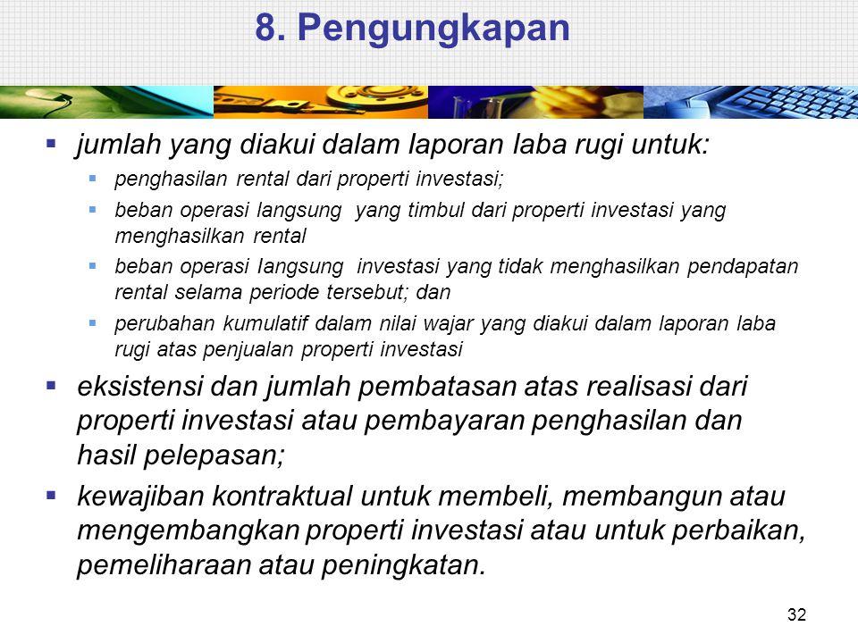 8. Pengungkapan jumlah yang diakui dalam Iaporan laba rugi untuk: