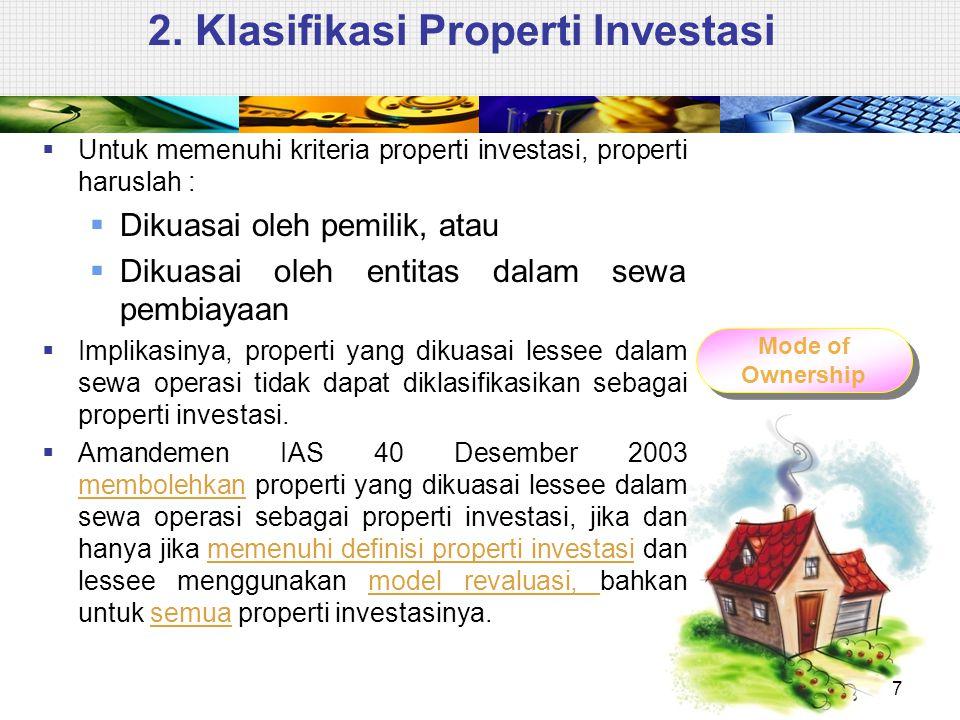 2. Klasifikasi Properti Investasi