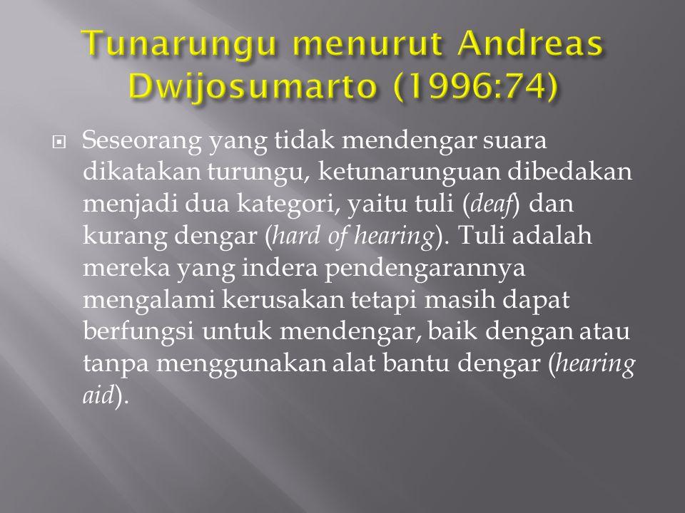 Tunarungu menurut Andreas Dwijosumarto (1996:74)