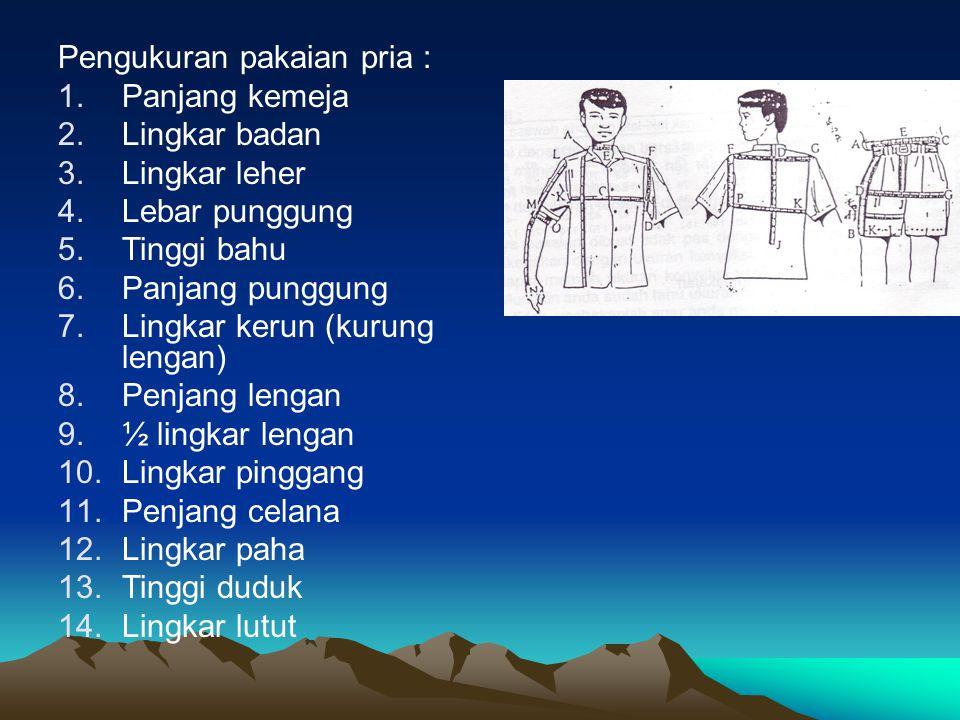 Pengukuran pakaian pria :