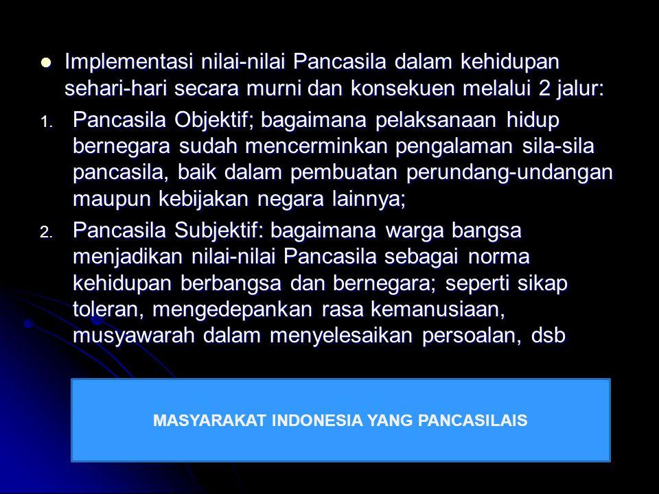 MASYARAKAT INDONESIA YANG PANCASILAIS